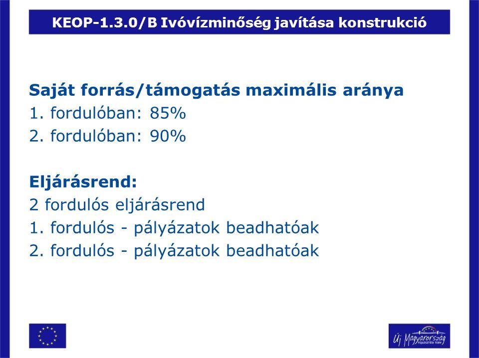 KEOP-1.3.0/B Ivóvízminőség javítása konstrukció Saját forrás/támogatás maximális aránya 1. fordulóban: 85% 2. fordulóban: 90% Eljárásrend: 2 fordulós