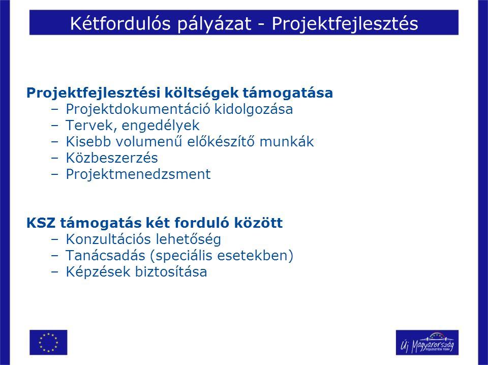 Kétfordulós pályázat - Projektfejlesztés Projektfejlesztési költségek támogatása –Projektdokumentáció kidolgozása –Tervek, engedélyek –Kisebb volumenű