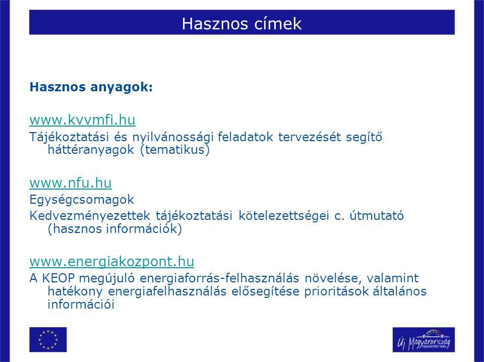 Hasznos címek Hasznos anyagok: www.kvvmfi.hu Tájékoztatási és nyilvánossági feladatok tervezését segítő háttéranyagok (tematikus) www.nfu.hu Egységcso