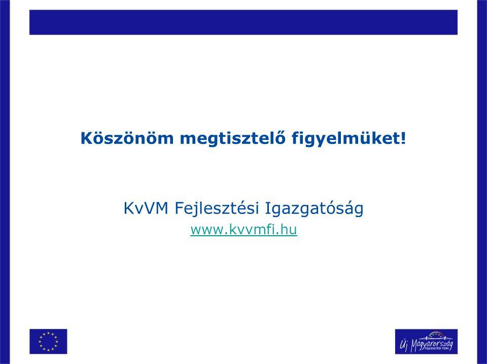 Köszönöm megtisztelő figyelmüket! KvVM Fejlesztési Igazgatóság www.kvvmfi.hu