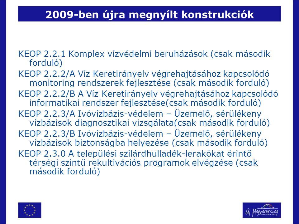 2009-ben újra megnyílt konstrukciók KEOP 2.2.1 Komplex vízvédelmi beruházások (csak második forduló) KEOP 2.2.2/A Víz Keretirányelv végrehajtásához ka