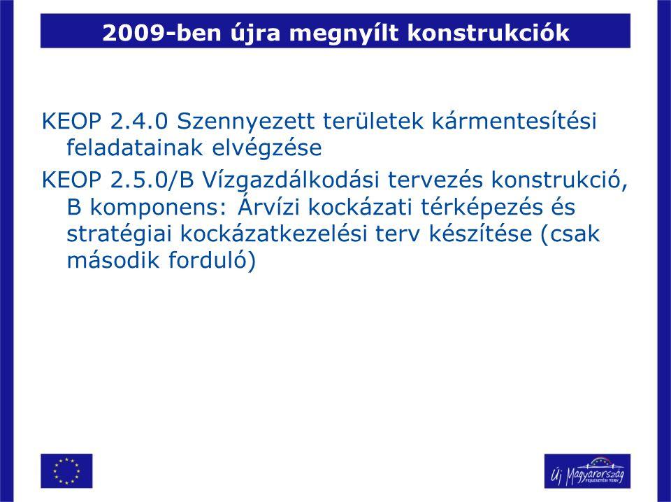 2009-ben újra megnyílt konstrukciók KEOP 2.4.0 Szennyezett területek kármentesítési feladatainak elvégzése KEOP 2.5.0/B Vízgazdálkodási tervezés konst