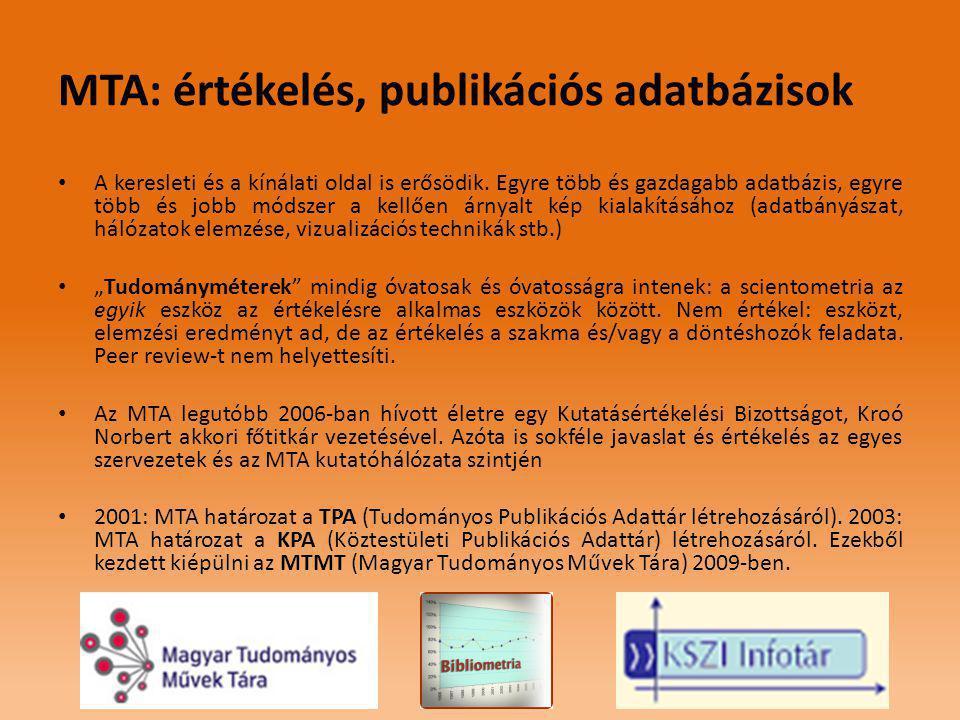 MTA: értékelés, publikációs adatbázisok • A keresleti és a kínálati oldal is erősödik.