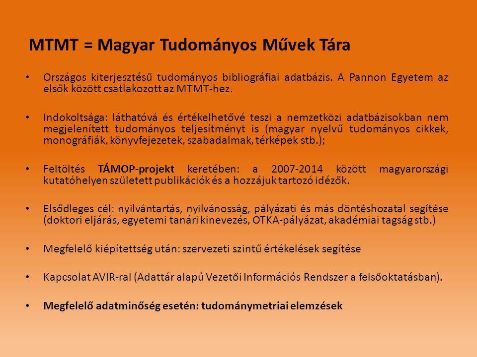 MTMT = Magyar Tudományos Művek Tára • Országos kiterjesztésű tudományos bibliográfiai adatbázis.