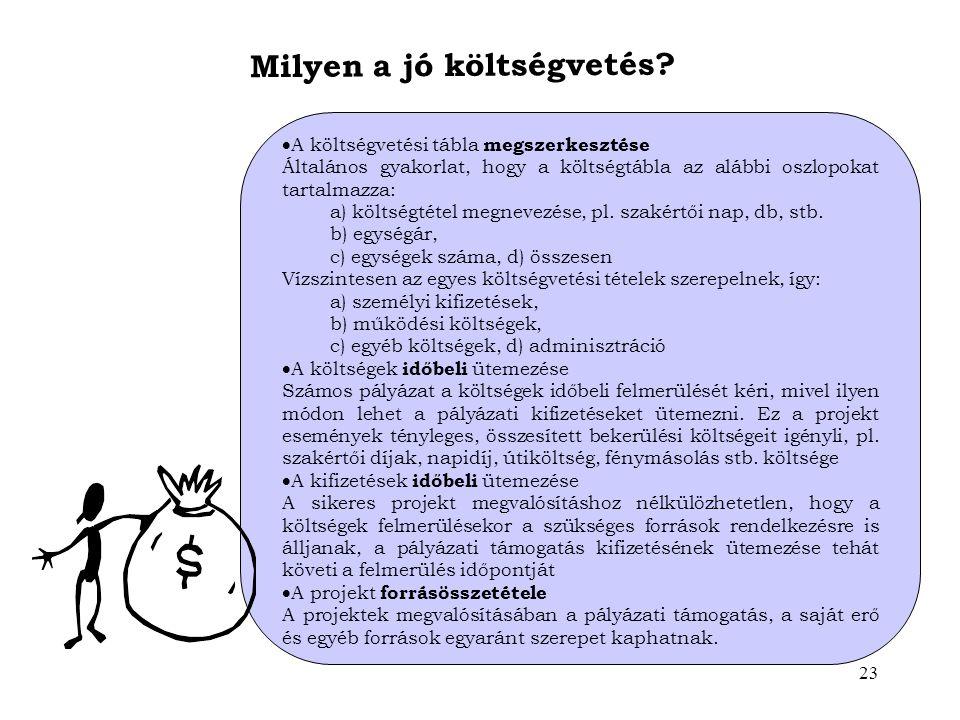 23 Milyen a jó költségvetés?  A költségvetési tábla megszerkesztése Általános gyakorlat, hogy a költségtábla az alábbi oszlopokat tartalmazza: a) köl