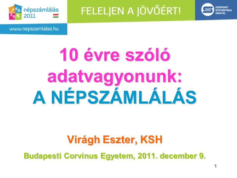 1 10 évre szóló adatvagyonunk: A NÉPSZÁMLÁLÁS Virágh Eszter, KSH Budapesti Corvinus Egyetem, 2011.