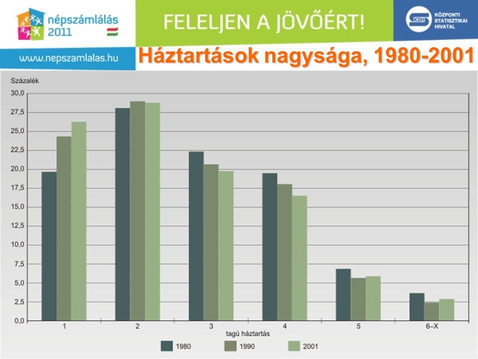 13 Háztartások nagysága, 1980-2001