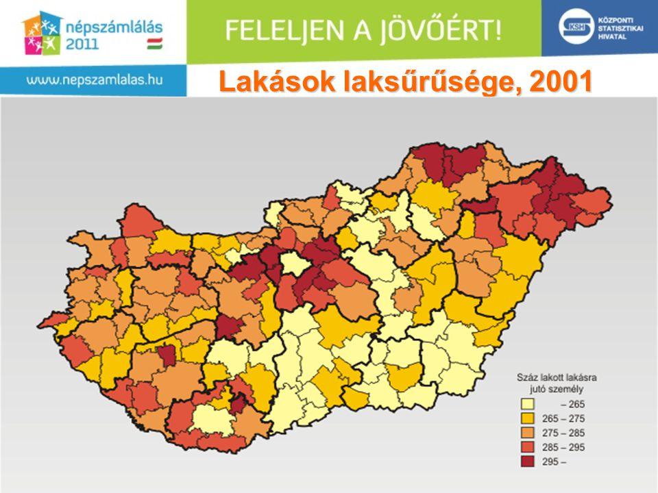 14 Lakások laksűrűsége, 2001