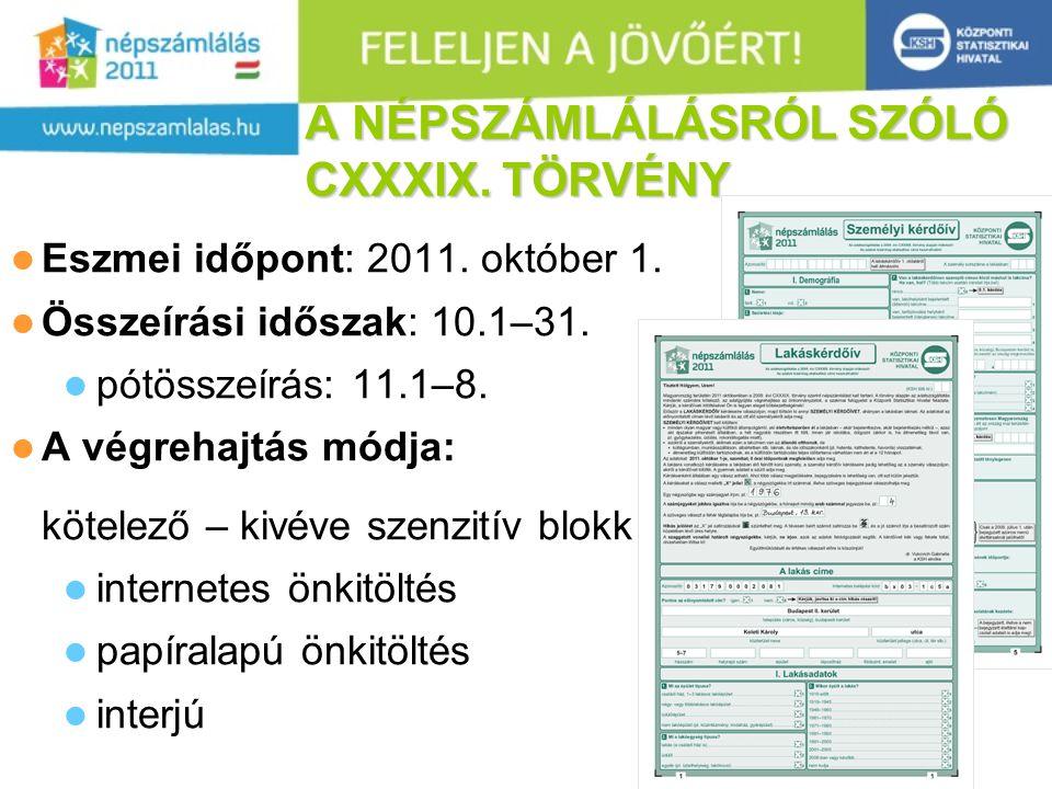 23 A NÉPSZÁMLÁLÁSRÓL SZÓLÓ CXXXIX.TÖRVÉNY  Eszmei időpont: 2011.
