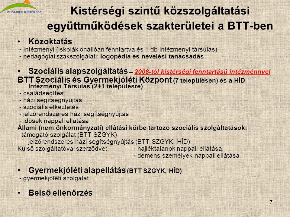 7 Kistérségi szintű közszolgáltatási együttműködések szakterületei a BTT-ben •Közoktatás - Intézményi (iskolák önállóan fenntartva és 1 db intézményi társulás) - pedagógiai szakszolgálati: logopédia és nevelési tanácsadás •Szociális alapszolgáltatás – 2008-tól kistérségi fenntartású intézménnyel BTT Szociális és Gyermekjóléti Központ (7 településen) és a HÍD Intézményi Társulás (2+1 településre) - családsegítés - házi segítségnyújtás - szociális étkeztetés - jelzőrendszeres házi segítségnyújtás - idősek nappali ellátása Állami (nem önkormányzati) ellátási körbe tartozó szociális szolgáltatások: - támogató szolgálat (BTT SZGYK) -jelzőrendszeres házi segítségnyújtás (BTT SZGYK, HÍD) Külső szolgáltatóval szerződve:- hajléktalanok nappali ellátása, - demens személyek nappali ellátása •Gyermekjóléti alapellátás (BTT SZGYK, HÍD) - gyermekjóléti szolgálat •Belső ellenőrzés