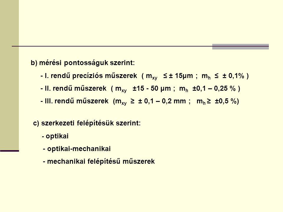 c) szerkezeti felépítésük szerint: - optikai - optikai-mechanikai - mechanikai felépítésű műszerek b) mérési pontosságuk szerint: - I.