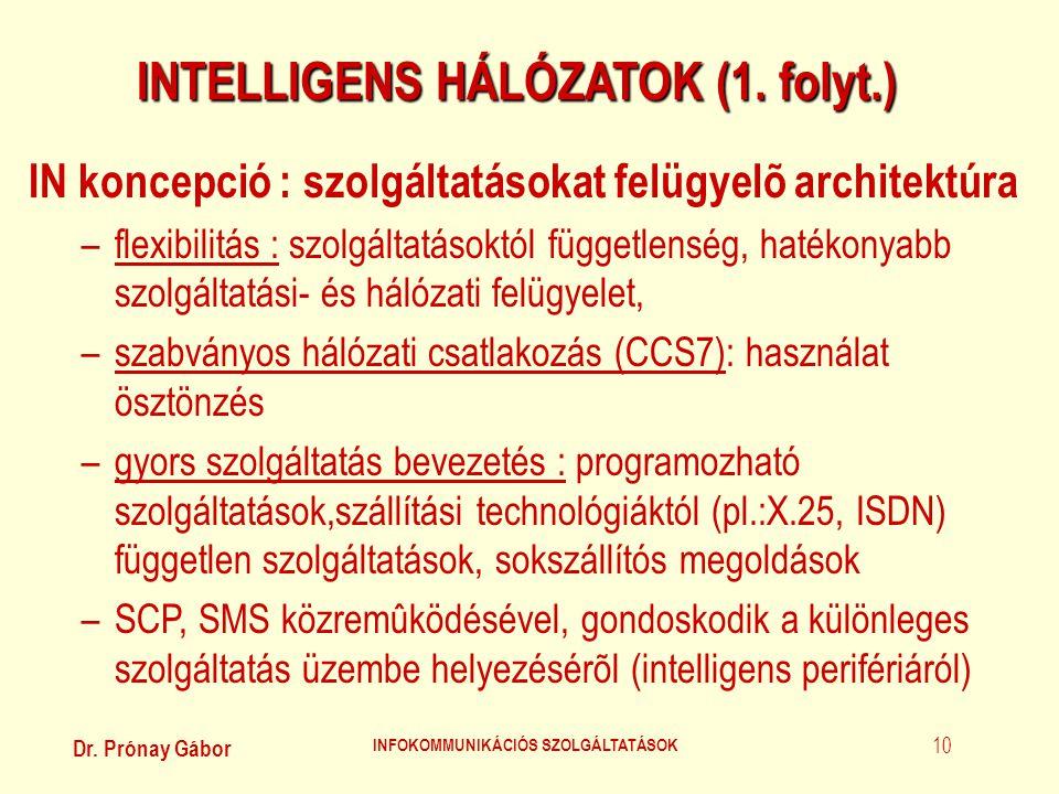 Dr. Prónay Gábor INFOKOMMUNIKÁCIÓS SZOLGÁLTATÁSOK 10 INTELLIGENS HÁLÓZATOK (1. folyt.) IN koncepció : szolgáltatásokat felügyelõ architektúra –flexibi