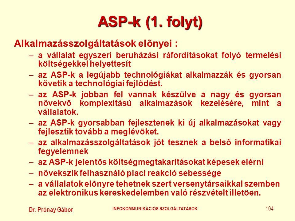 Dr. Prónay Gábor INFOKOMMUNIKÁCIÓS SZOLGÁLTATÁSOK 104 ASP-k (1. folyt) Alkalmazásszolgáltatások elõnyei : –a vállalat egyszeri beruházási ráfordítások