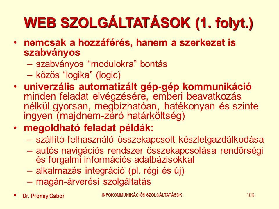 Dr. Prónay Gábor INFOKOMMUNIKÁCIÓS SZOLGÁLTATÁSOK 106 WEB SZOLGÁLTATÁSOK (1. folyt.) •nemcsak a hozzáférés, hanem a szerkezet is szabványos –szabványo