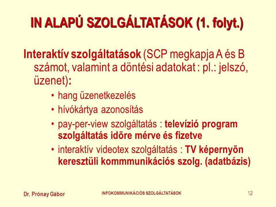 Dr. Prónay Gábor INFOKOMMUNIKÁCIÓS SZOLGÁLTATÁSOK 12 IN ALAPÚ SZOLGÁLTATÁSOK (1. folyt.) Interaktív szolgáltatások (SCP megkapja A és B számot, valami