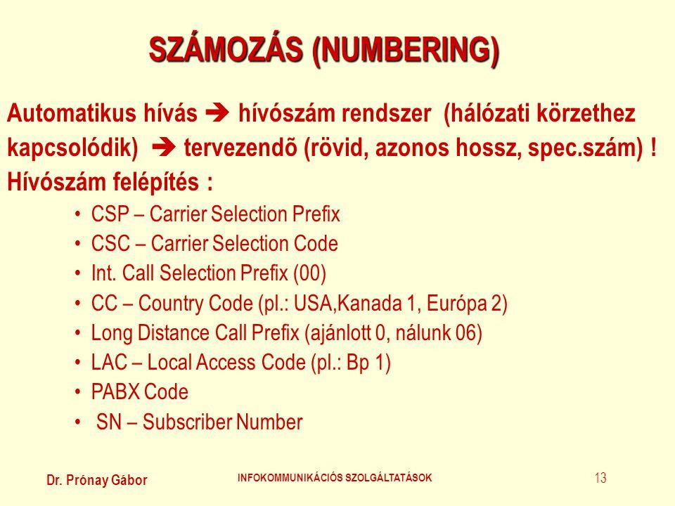 Dr. Prónay Gábor INFOKOMMUNIKÁCIÓS SZOLGÁLTATÁSOK 13 SZÁMOZÁS (NUMBERING) Automatikus hívás  hívószám rendszer (hálózati körzethez kapcsolódik)  ter