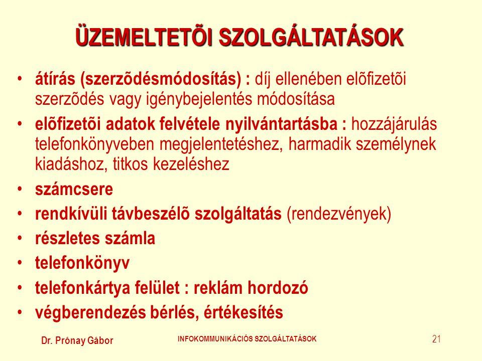 Dr. Prónay Gábor INFOKOMMUNIKÁCIÓS SZOLGÁLTATÁSOK 21 ÜZEMELTETÕI SZOLGÁLTATÁSOK • átírás (szerzõdésmódosítás) : díj ellenében elõfizetõi szerzõdés vag