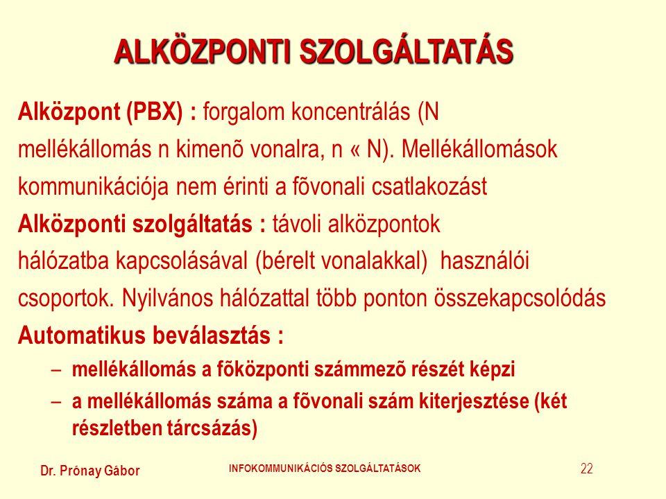 Dr. Prónay Gábor INFOKOMMUNIKÁCIÓS SZOLGÁLTATÁSOK 22 ALKÖZPONTI SZOLGÁLTATÁS Alközpont (PBX) : forgalom koncentrálás (N mellékállomás n kimenõ vonalra