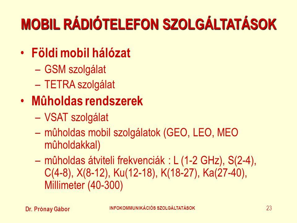 Dr. Prónay Gábor INFOKOMMUNIKÁCIÓS SZOLGÁLTATÁSOK 23 MOBIL RÁDIÓTELEFON SZOLGÁLTATÁSOK • Földi mobil hálózat –GSM szolgálat –TETRA szolgálat • Mûholda