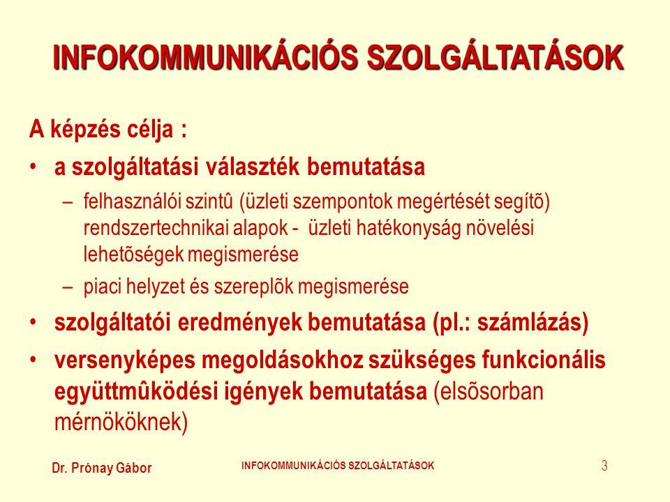 Dr. Prónay Gábor INFOKOMMUNIKÁCIÓS SZOLGÁLTATÁSOK 3 A képzés célja : • a szolgáltatási választék bemutatása –felhasználói szintû (üzleti szempontok me