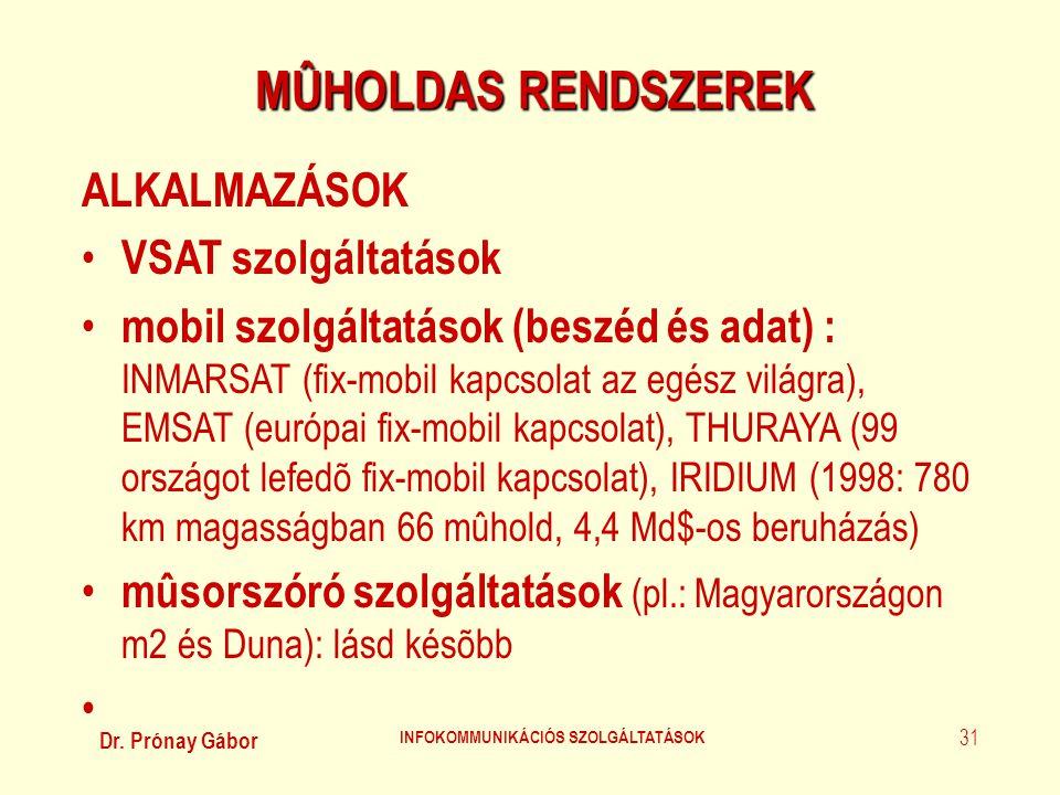 Dr. Prónay Gábor INFOKOMMUNIKÁCIÓS SZOLGÁLTATÁSOK 31 MÛHOLDAS RENDSZEREK ALKALMAZÁSOK • VSAT szolgáltatások • mobil szolgáltatások (beszéd és adat) :