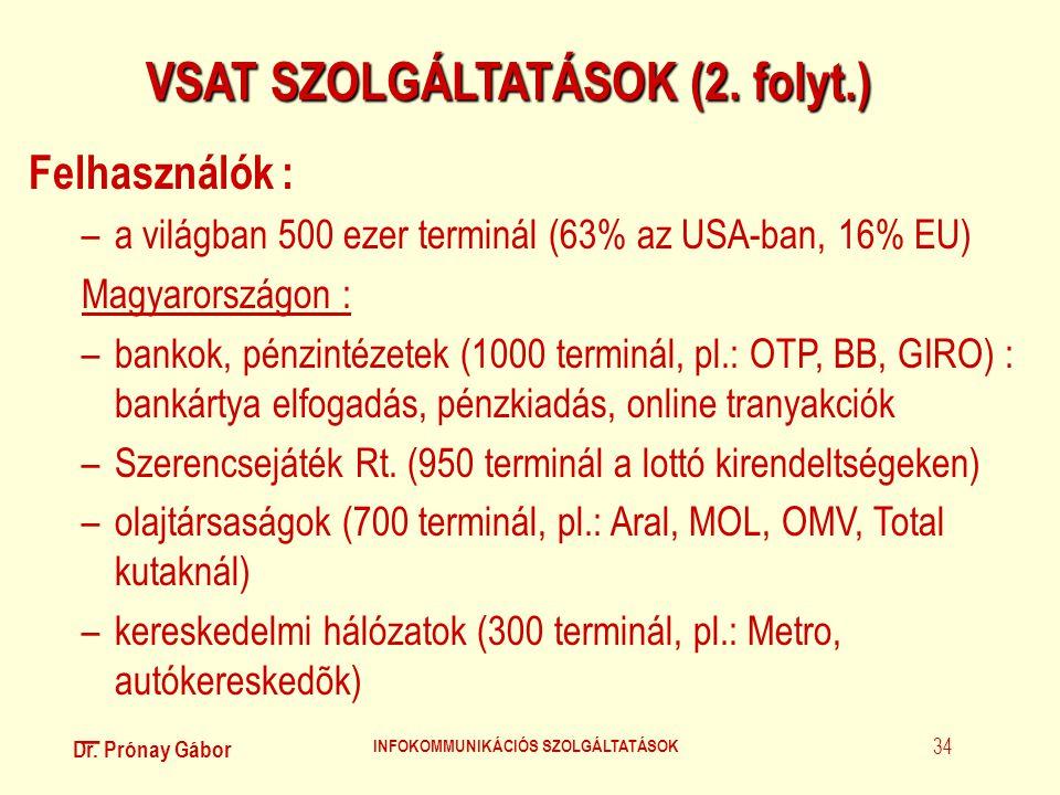 Dr. Prónay Gábor INFOKOMMUNIKÁCIÓS SZOLGÁLTATÁSOK 34 VSAT SZOLGÁLTATÁSOK (2. folyt.) Felhasználók : –a világban 500 ezer terminál (63% az USA-ban, 16%