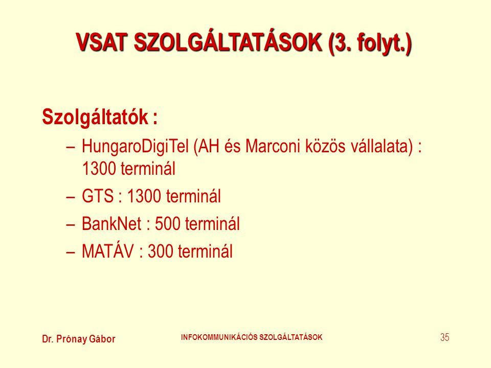 Dr. Prónay Gábor INFOKOMMUNIKÁCIÓS SZOLGÁLTATÁSOK 35 VSAT SZOLGÁLTATÁSOK (3. folyt.) Szolgáltatók : –HungaroDigiTel (AH és Marconi közös vállalata) :