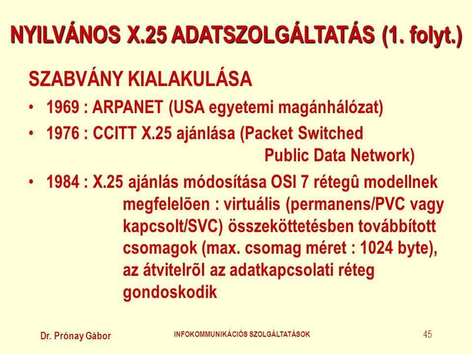 Dr. Prónay Gábor INFOKOMMUNIKÁCIÓS SZOLGÁLTATÁSOK 45 NYILVÁNOS X.25 ADATSZOLGÁLTATÁS (1. folyt.) SZABVÁNY KIALAKULÁSA • 1969 : ARPANET (USA egyetemi m