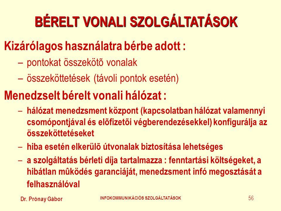 Dr. Prónay Gábor INFOKOMMUNIKÁCIÓS SZOLGÁLTATÁSOK 56 BÉRELT VONALI SZOLGÁLTATÁSOK Kizárólagos használatra bérbe adott : –pontokat összekötõ vonalak –ö