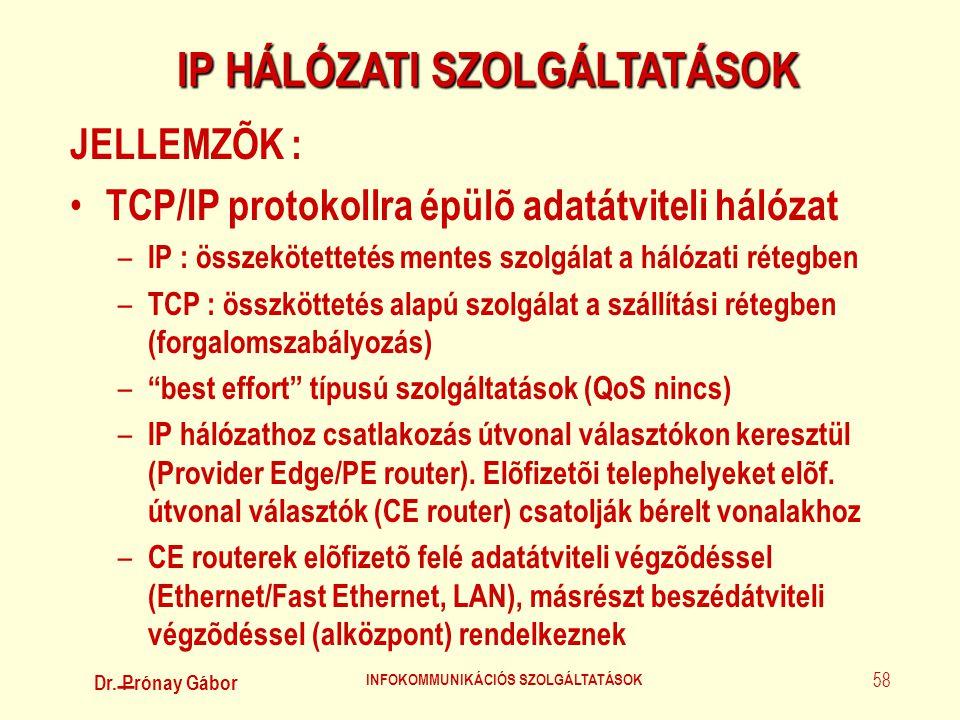 Dr. Prónay Gábor INFOKOMMUNIKÁCIÓS SZOLGÁLTATÁSOK 58 IP HÁLÓZATI SZOLGÁLTATÁSOK JELLEMZÕK : • TCP/IP protokollra épülõ adatátviteli hálózat – IP : öss