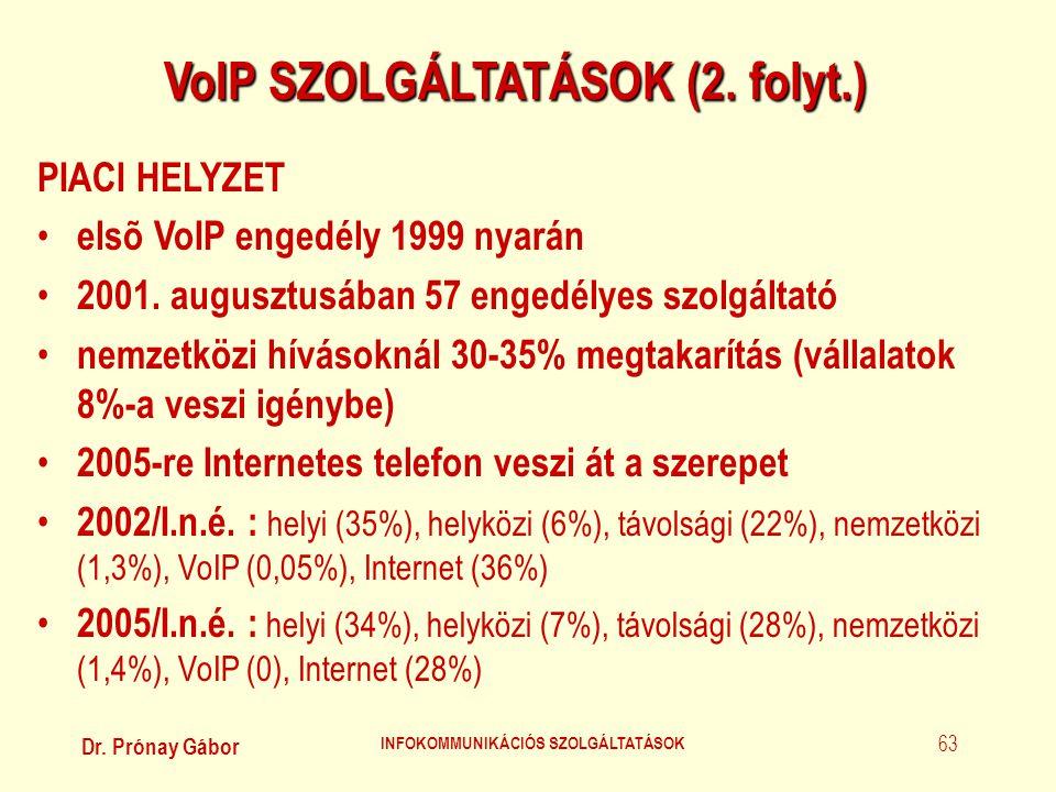 Dr. Prónay Gábor INFOKOMMUNIKÁCIÓS SZOLGÁLTATÁSOK 63 VoIP SZOLGÁLTATÁSOK (2. folyt.) PIACI HELYZET • elsõ VoIP engedély 1999 nyarán • 2001. augusztusá
