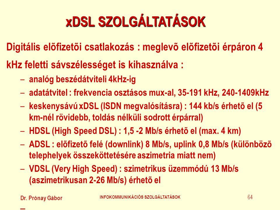 Dr. Prónay Gábor INFOKOMMUNIKÁCIÓS SZOLGÁLTATÁSOK 64 xDSL SZOLGÁLTATÁSOK Digitális elõfizetõi csatlakozás : meglevõ elõfizetõi érpáron 4 kHz feletti s