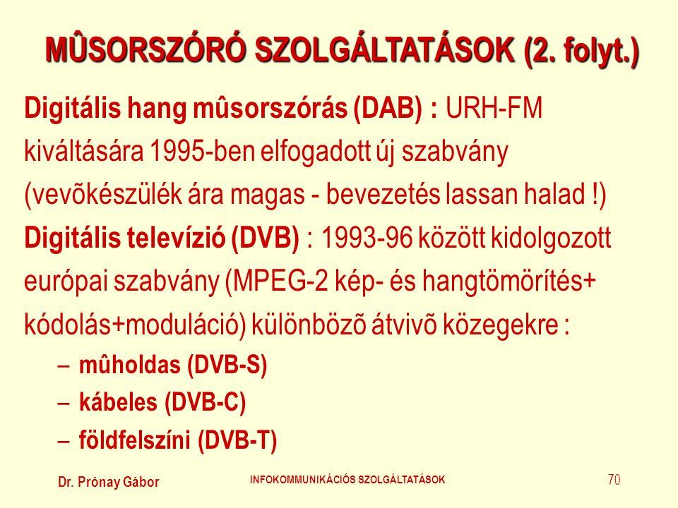 Dr. Prónay Gábor INFOKOMMUNIKÁCIÓS SZOLGÁLTATÁSOK 70 MÛSORSZÓRÓ SZOLGÁLTATÁSOK (2. folyt.) Digitális hang mûsorszórás (DAB) : URH-FM kiváltására 1995-