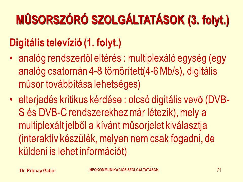 Dr. Prónay Gábor INFOKOMMUNIKÁCIÓS SZOLGÁLTATÁSOK 71 MÛSORSZÓRÓ SZOLGÁLTATÁSOK (3. folyt.) Digitális televízió (1. folyt.) •analóg rendszertõl eltérés