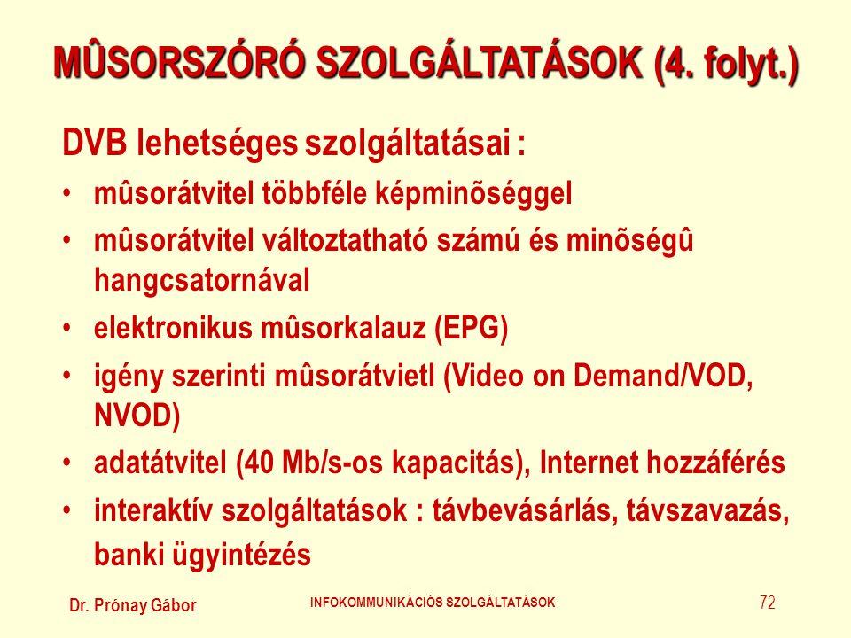 Dr. Prónay Gábor INFOKOMMUNIKÁCIÓS SZOLGÁLTATÁSOK 72 MÛSORSZÓRÓ SZOLGÁLTATÁSOK (4. folyt.) DVB lehetséges szolgáltatásai : • mûsorátvitel többféle kép