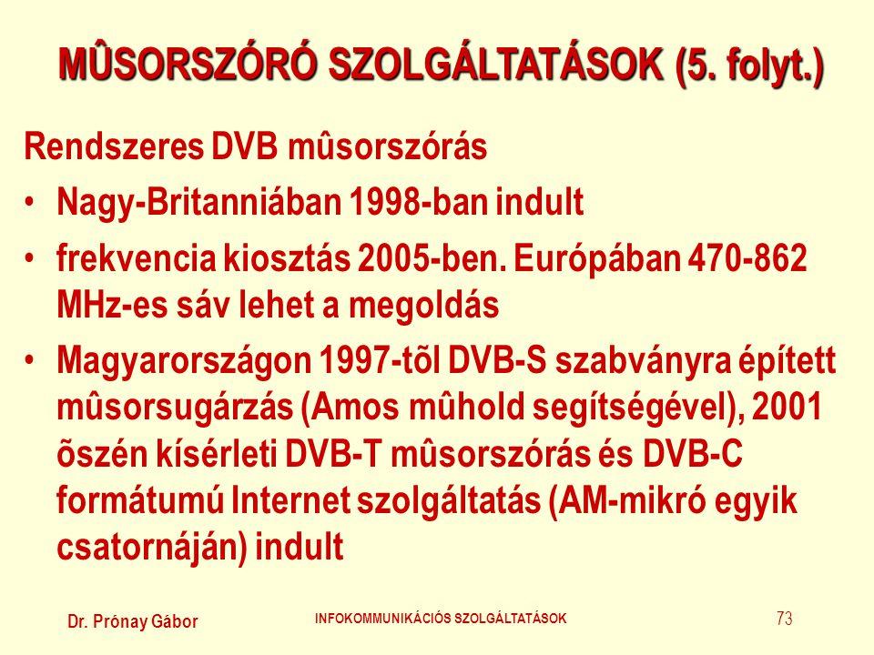 Dr. Prónay Gábor INFOKOMMUNIKÁCIÓS SZOLGÁLTATÁSOK 73 MÛSORSZÓRÓ SZOLGÁLTATÁSOK (5. folyt.) Rendszeres DVB mûsorszórás • Nagy-Britanniában 1998-ban ind