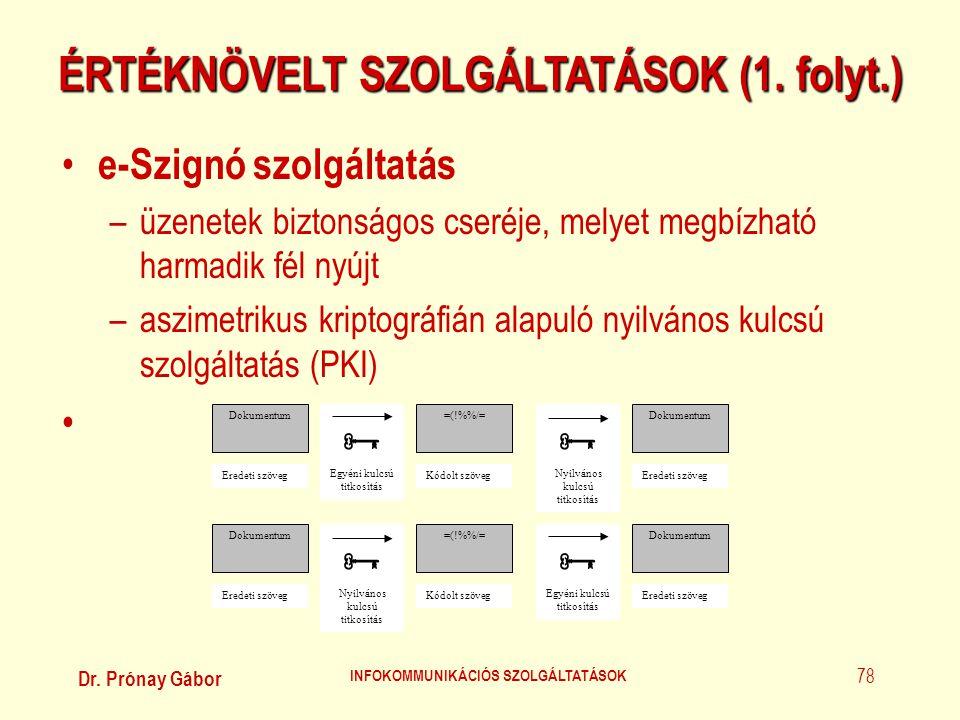 Dr. Prónay Gábor INFOKOMMUNIKÁCIÓS SZOLGÁLTATÁSOK 78 ÉRTÉKNÖVELT SZOLGÁLTATÁSOK (1. folyt.) • e-Szignó szolgáltatás –üzenetek biztonságos cseréje, mel