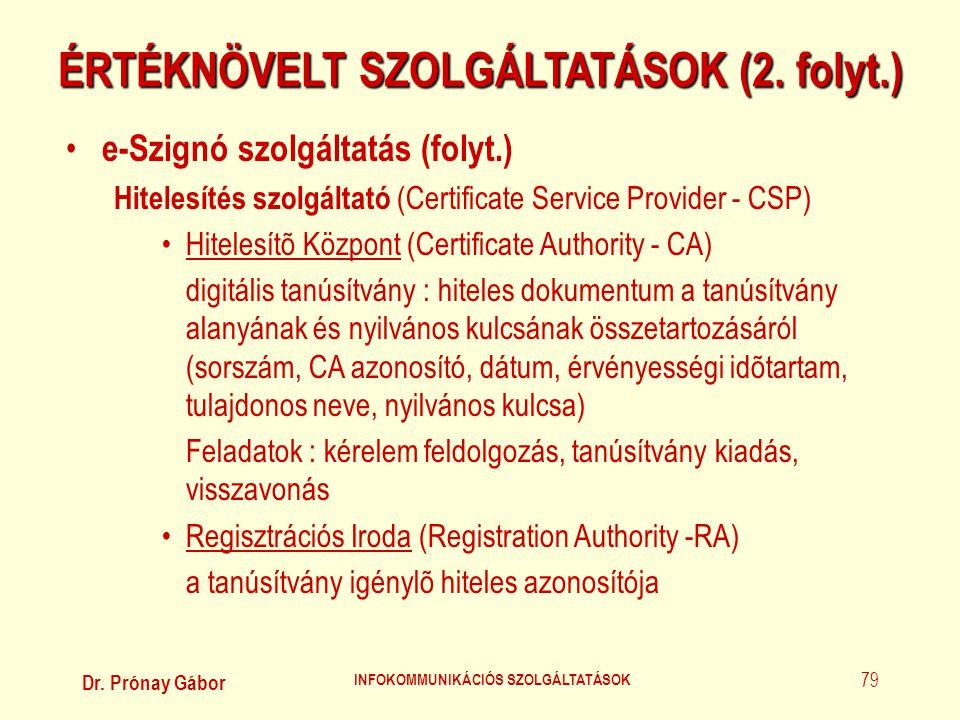 Dr. Prónay Gábor INFOKOMMUNIKÁCIÓS SZOLGÁLTATÁSOK 79 ÉRTÉKNÖVELT SZOLGÁLTATÁSOK (2. folyt.) • e-Szignó szolgáltatás (folyt.) Hitelesítés szolgáltató (