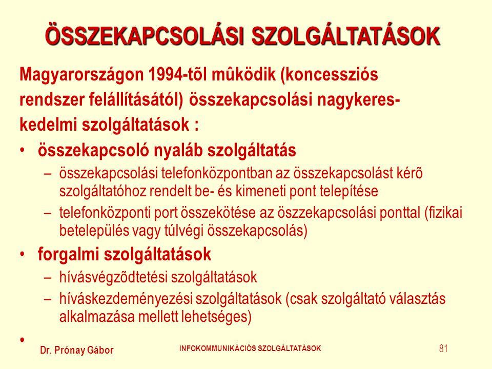 Dr. Prónay Gábor INFOKOMMUNIKÁCIÓS SZOLGÁLTATÁSOK 81 ÖSSZEKAPCSOLÁSI SZOLGÁLTATÁSOK Magyarországon 1994-tõl mûködik (koncessziós rendszer felállítását