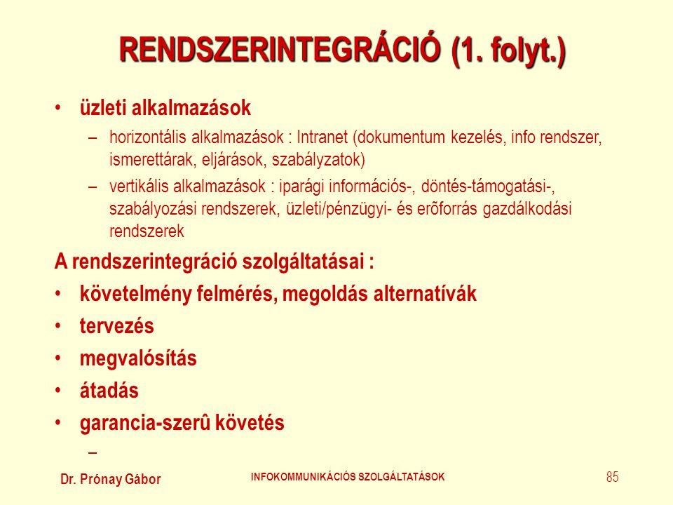 Dr. Prónay Gábor INFOKOMMUNIKÁCIÓS SZOLGÁLTATÁSOK 85 RENDSZERINTEGRÁCIÓ (1. folyt.) • üzleti alkalmazások –horizontális alkalmazások : Intranet (dokum