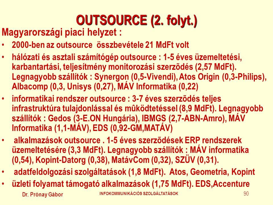 Dr. Prónay Gábor INFOKOMMUNIKÁCIÓS SZOLGÁLTATÁSOK 90 OUTSOURCE (2. folyt.) Magyarországi piaci helyzet : • 2000-ben az outsource összbevétele 21 MdFt