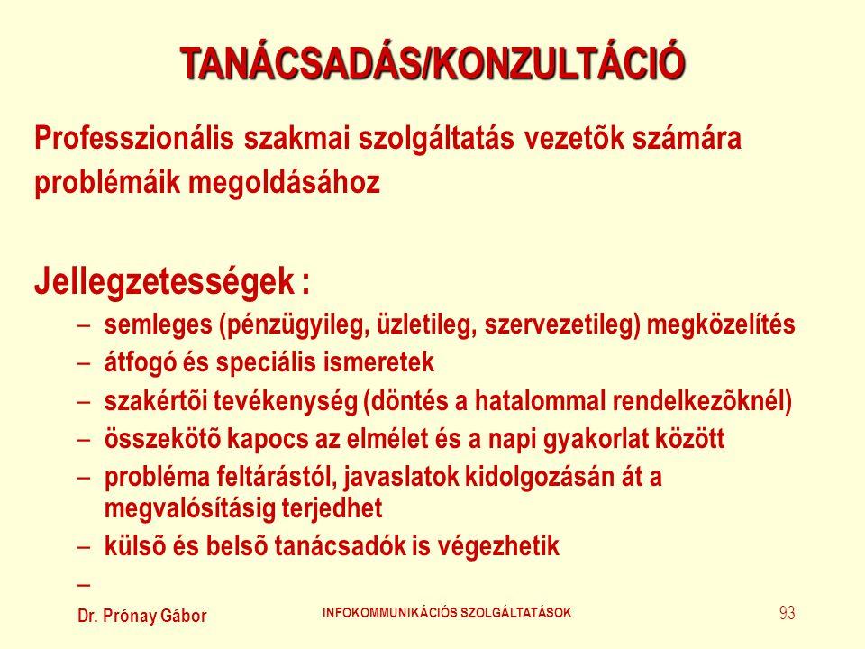 Dr. Prónay Gábor INFOKOMMUNIKÁCIÓS SZOLGÁLTATÁSOK 93 TANÁCSADÁS/KONZULTÁCIÓ Professzionális szakmai szolgáltatás vezetõk számára problémáik megoldásáh