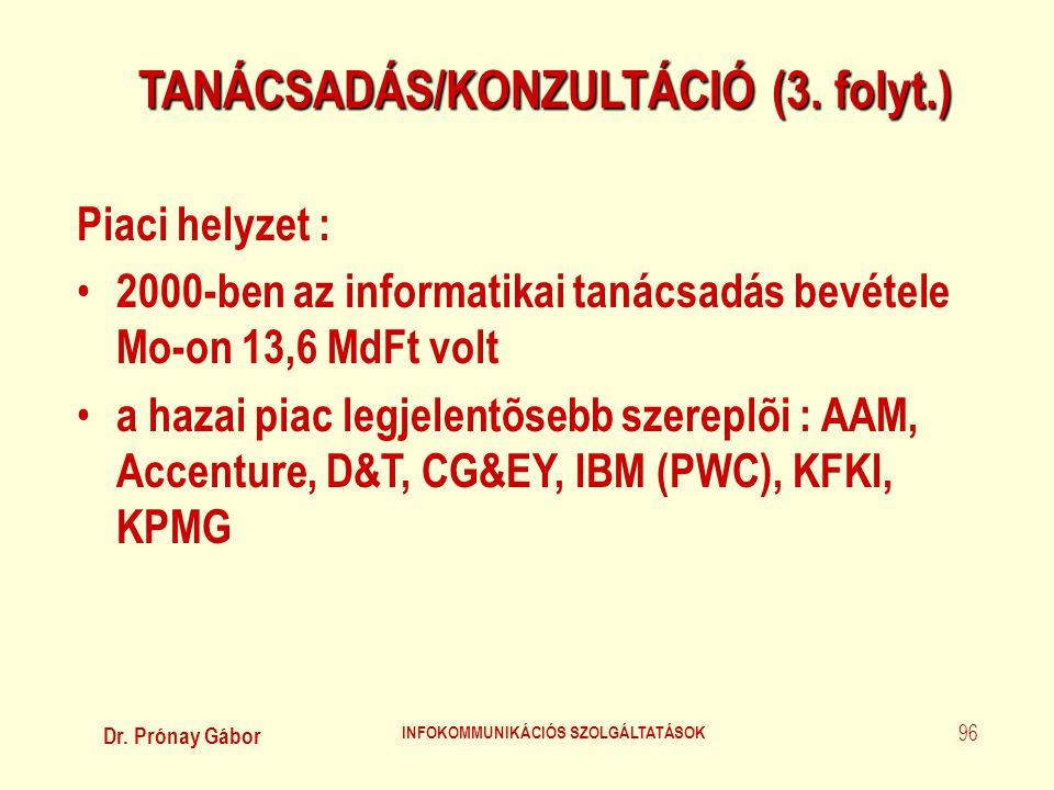 Dr. Prónay Gábor INFOKOMMUNIKÁCIÓS SZOLGÁLTATÁSOK 96 TANÁCSADÁS/KONZULTÁCIÓ (3. folyt.) Piaci helyzet : • 2000-ben az informatikai tanácsadás bevétele