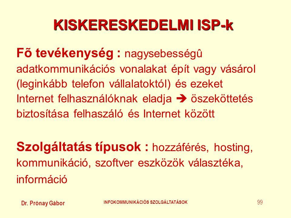 Dr. Prónay Gábor INFOKOMMUNIKÁCIÓS SZOLGÁLTATÁSOK 99 KISKERESKEDELMI ISP-k Fõ tevékenység : nagysebességû adatkommunikációs vonalakat épít vagy vásáro