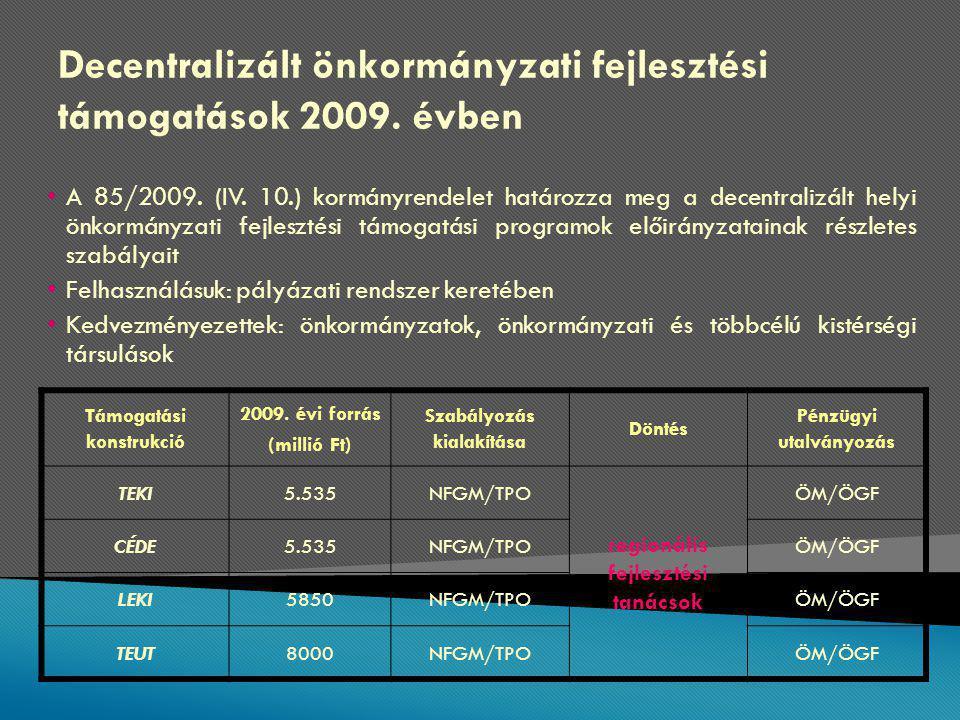 Decentralizált önkormányzati fejlesztési támogatások 2009.
