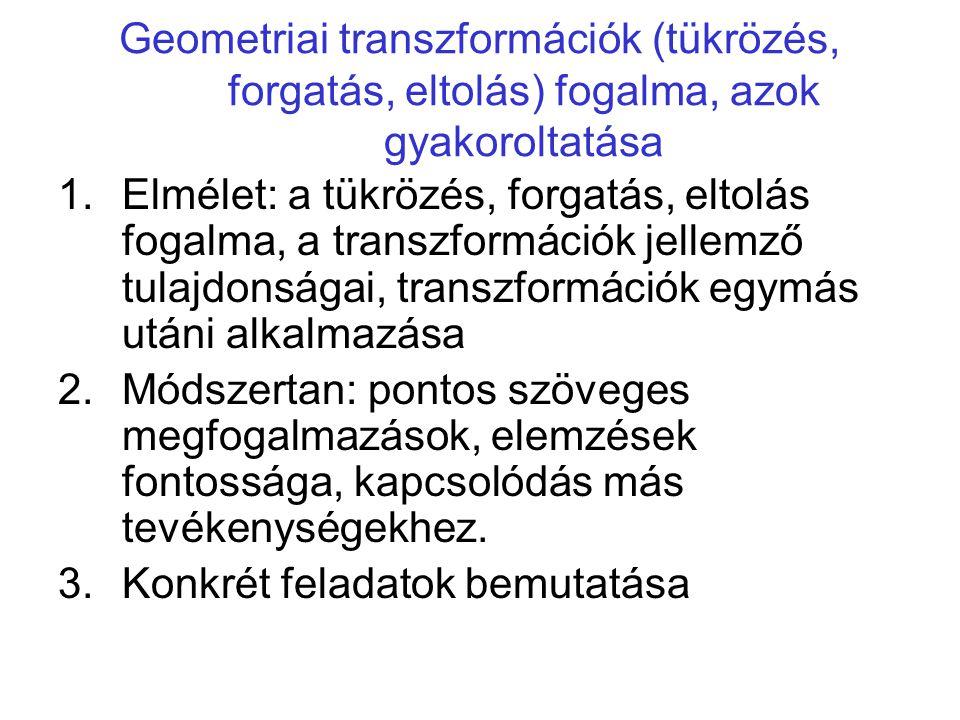 Geometriai transzformációk (tükrözés, forgatás, eltolás) fogalma, azok gyakoroltatása 1.Elmélet: a tükrözés, forgatás, eltolás fogalma, a transzformác