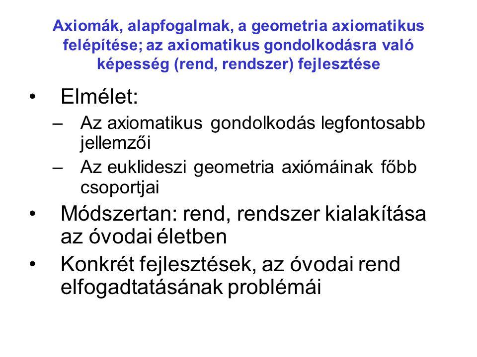 Axiomák, alapfogalmak, a geometria axiomatikus felépítése; az axiomatikus gondolkodásra való képesség (rend, rendszer) fejlesztése •Elmélet: –Az axiom