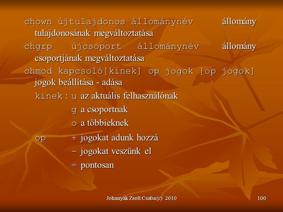 Johanyák Zsolt Csaba (c) 2010100 chown újtulajdonos állománynév állomány tulajdonosának megváltoztatása chgrpújcsoportállománynév állomány csoportjána