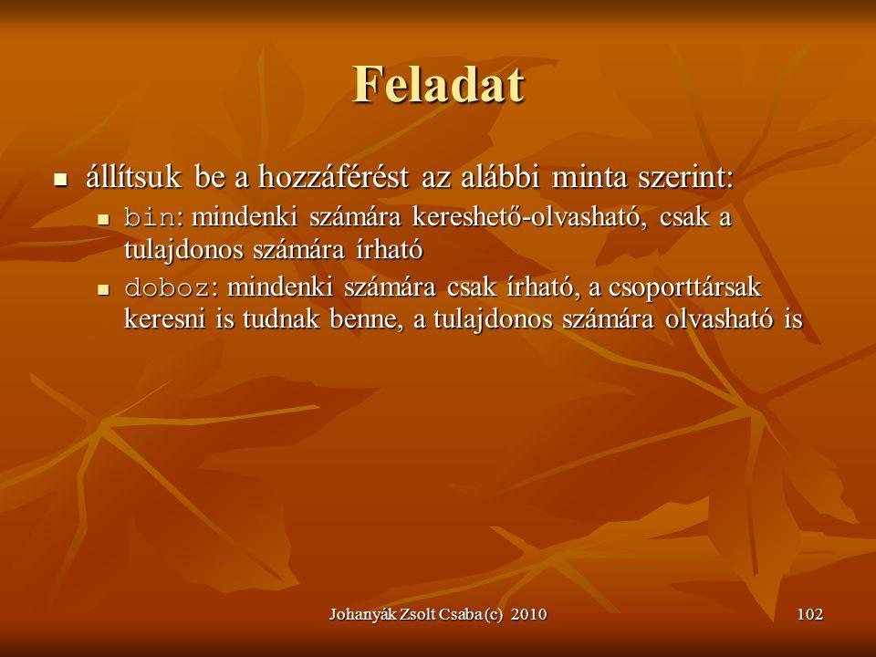 Johanyák Zsolt Csaba (c) 2010102 Feladat  állítsuk be a hozzáférést az alábbi minta szerint:  bin : mindenki számára kereshető-olvasható, csak a tul