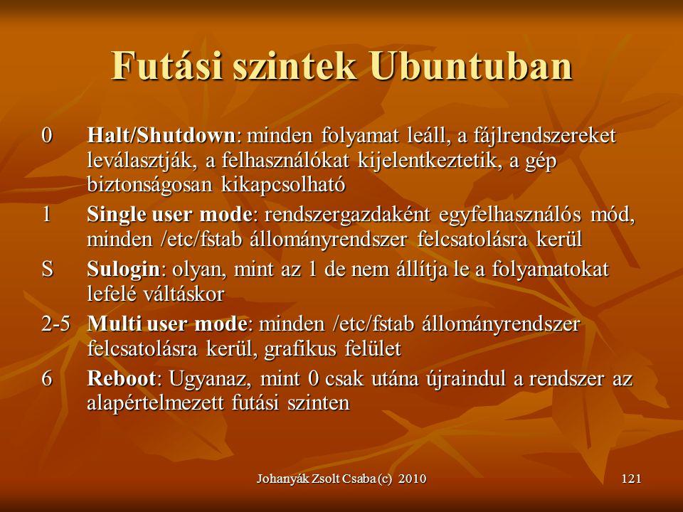 Johanyák Zsolt Csaba (c) 2010121 Futási szintek Ubuntuban 0Halt/Shutdown: minden folyamat leáll, a fájlrendszereket leválasztják, a felhasználókat kij